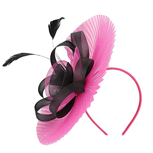 hositor Pink Headband, Women Feather Fascinators Womens Flower Derby Hat for Cocktail Ball Wedding Church ()