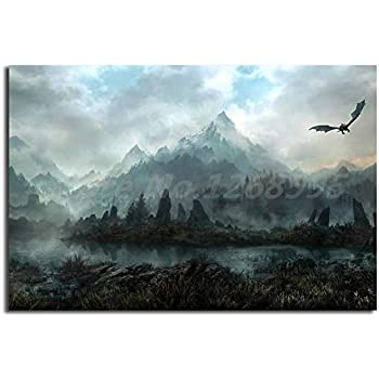 Canvas Wall Art Game Landscape Mountain Art Canvas Poster Painting Wall Picture Artwork Print Home Bedroom Decor