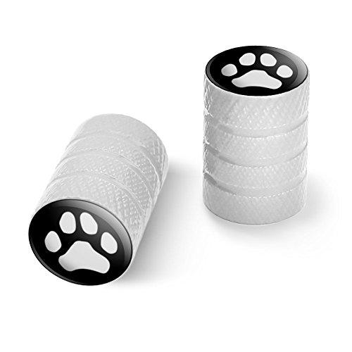 オートバイ自転車バイクタイヤリムホイールアルミバルブステムキャップ - ホワイト Pawプリント犬猫ホワイト(ブラック)