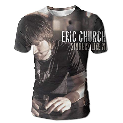 JohnHA Men's Eric Church Sinners Like Me Fashion 3D Printed Short Sleeve Tees S by John H. Alston