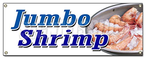 JUMBO SHRIMP BANNER SIGN cocktail cold local healthy food...