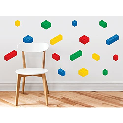 Building Block Bricks Fabric Wall Decals, Set Of 16 Blocks In 4 Colors    Removable, Reusable, Respositionable