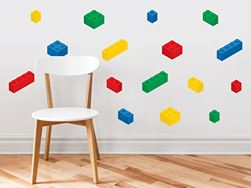 Building Block Bricks Fabric Wall Decals, Set Of 16 Blocks In 4 Colors - Removable, Reusable, - Wallpaper Friends Blue Border