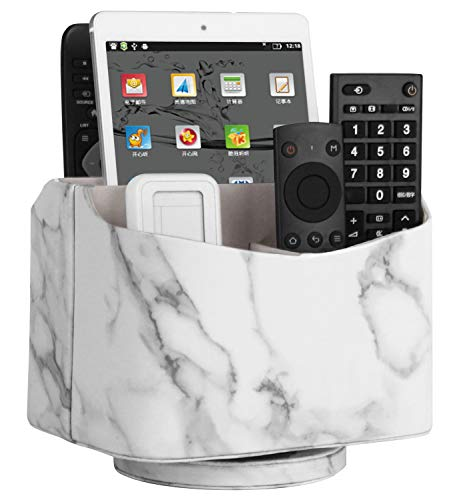 Leather Media Table Storage - Spinning Remote Control Holder, Remote Controller Holder, Remote Caddy, Media Storage Organizer, Spinning Remote Control Organizer, Marble Pattern PU Leather, 7.3X 5.5 x 6 inches