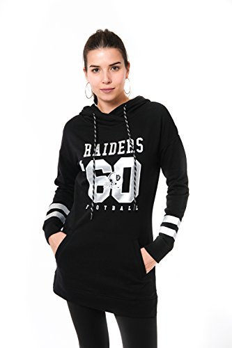 Oakland Raiders Pullover - Icer Brands NFL Oakland Raiders Women's Tunic Hoodie Pullover Sweatshirt Terry, Medium, Black