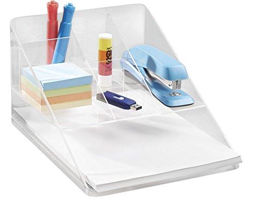 mDesign Organizador de Escritorio Transparente – Organizador de Oficina con 5 Compartimentos y Bandeja para Papel – Practico Organizador de Material de Escritorio