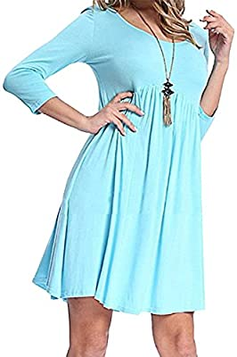 Yingkis Women's Summer 3/4 Sleeve Dress High Low Pleated Swing Loose Casual Flared Midi Dresses