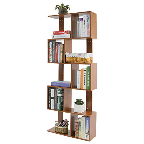 Jerry & Maggie - 5 Tier Shelves Display Bookcase Desk Organizer Storage Wood Closet Multi Units Deluxe Free Stand Shelving Shelves Racks Home Office - Rectangle Shaped | Dark Natural Wood Tone (Wood Storage Unit)