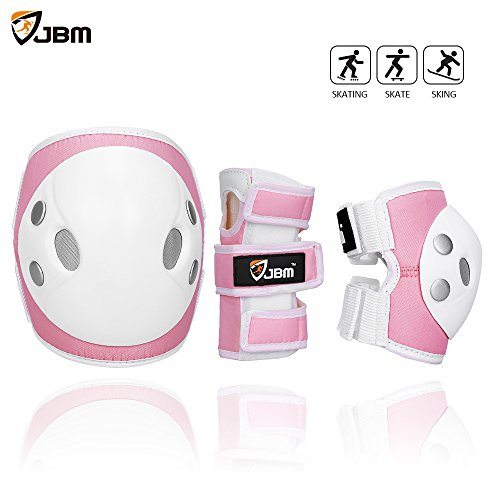 JBM Child Kids Bike Cycling Bicycle Riding Protective Gear Set, Knee and Elbow Pads with Wrist Guards Multi-sports: Rollerblading, Skating, Volleyball, Basketball, BMX (Nylon Cloth Pink, Child/kids) (Roller Rib)
