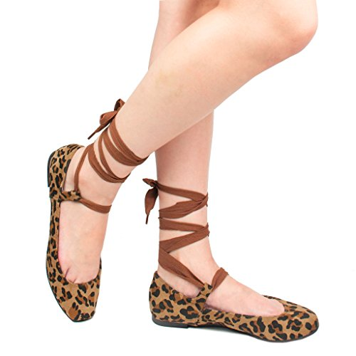 Women's Ankle Ribbon Lace Up Square Toe Faux Suede Ballet Flats,Leopard-b,8.5 B(M) US