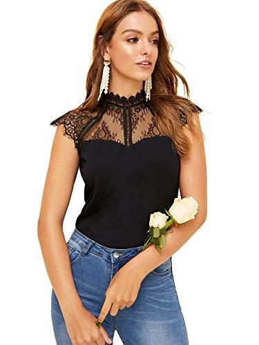 (WDIRARA Women's Mesh Top Short Ruffle Sleeve Tee Contrast Lace Sheer Blouse Black)
