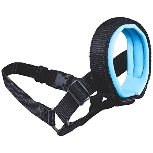 Gentle Muzzle Guard Dogs - Prevents Biting Unwanted Chewing Safely Secure Comfort Fit - Soft Neoprene Padding - No More Chafing - Included Training Guide Helps Build Bonds Pet (3, Blue)