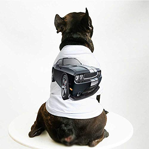 YOLIYANA Cars Printing Pet Suit,Black Modern Pony Car with White Racing Stripes Coupe Motorized Sport Dragster for Small Dog Teddy Chihuahua Bichon,S
