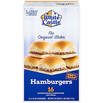 White Castle hamburgers, 2 Sliders, 3.66 Oz, (16 Count)