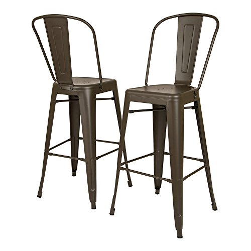 Glitzhome Vintage Style Iron Dining Chair Set of 2
