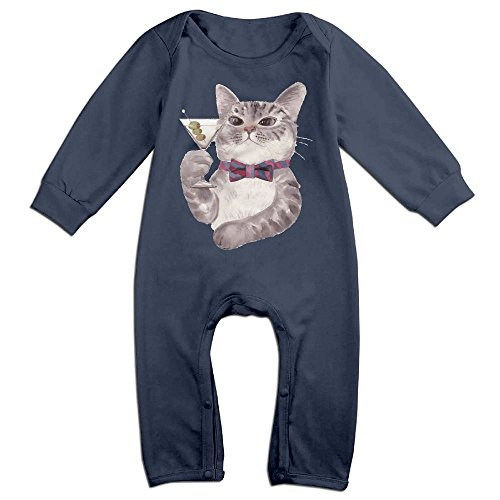 Kim Kardashian Cat Costume (Baby Infant Romper Wine Cat Long Sleeve Playsuit Outfits Navy 12 Months)