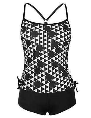 ninovino Women's Two Piece Swimsuits Tankini Top with Boyshorts Swimwear Set