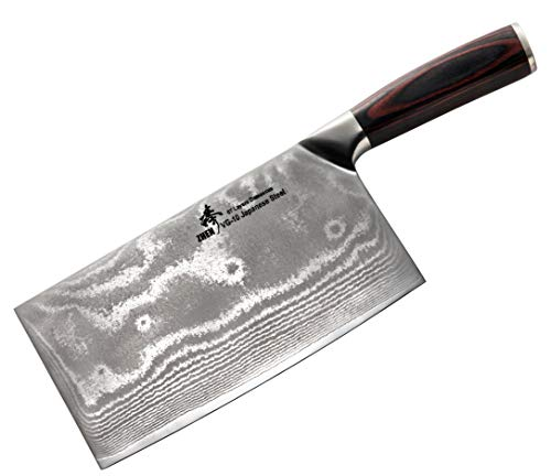 ZHEN Japanese VG-10 67-Layer Damascus Steel 8-Inch Slicer Chopping Chef Butcher Knife/Cleaver, Large by ZHEN