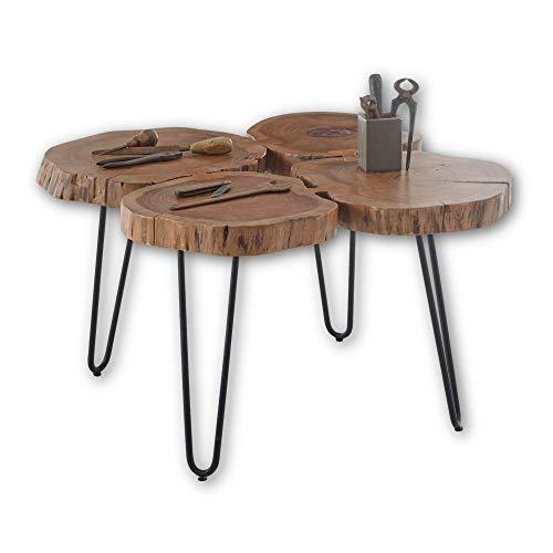 Stella Trading Cole Mini Legno di Acacia Massiccio con Struttura in Metallo Nero – Tavolino Naturale per Il Vostro Salotto, 4 Baumscheiben