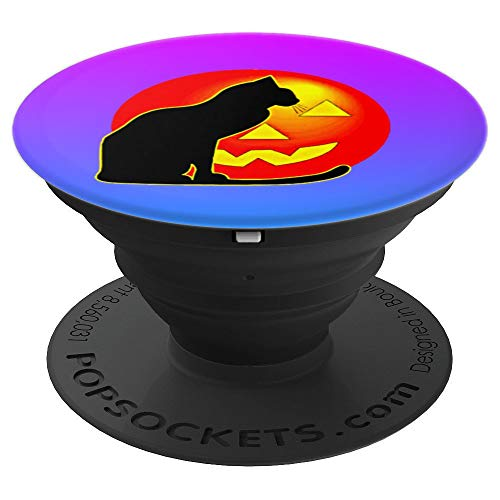 Beautiful Black Cat Silhouette Halloween Pumpkin Candy Gift - PopSockets Grip and Stand for Phones and Tablets ()