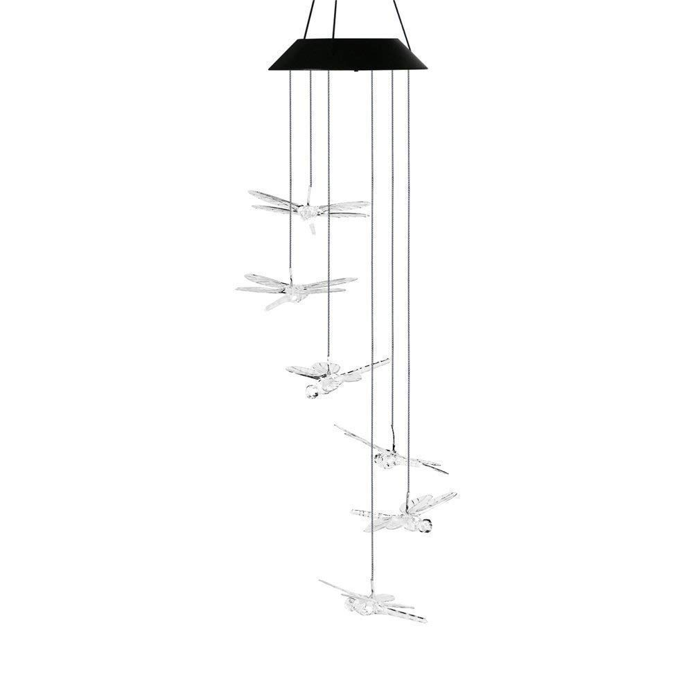 Aveki Solar-Powered Wind Chime Color-Changing LED Solar Mobile Wind Chime Outdoor Led Hanging lamp Waterproof Spiral Spinner Wind Chime Wind Bell for Yard, Garden, Home, Pathway (Dragonfly) by Aveki