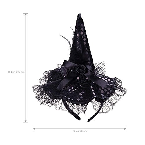 BinaryABC Halloween Witch Hat Headband for Halloween Costume Dress up Party Supplies (Black)