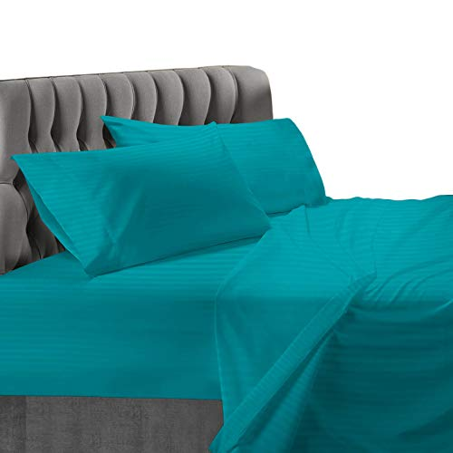 Nestl Bedding 4-Piece Damask Sheets - Luxury Dobby Striped Deluxe Hotel Collection Bed Sheet Set - Ultra Soft Double Brushed Microfiber, Hypoallergenic, Cool and Breathable - Full, Teal