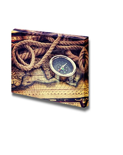 Vintage Map with Compass and Old Rope Wall Decor ation