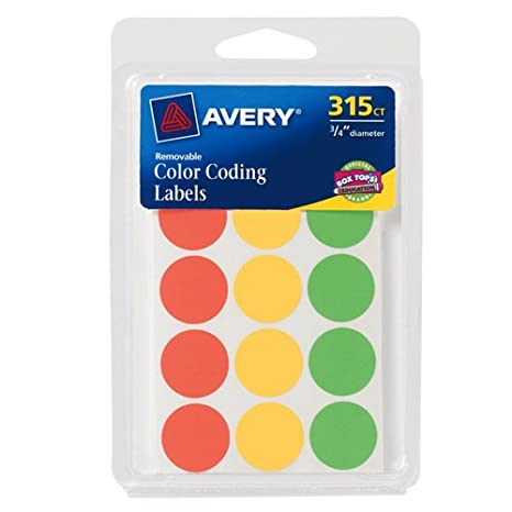 amazoncom avery round color coding labels 075 inch assorted removable pack of 315 6733 all purpose labels office products - Avery Colored Labels