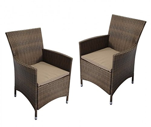 2 x Polyrattan Poly Rattan Gartenmöbel Stuhl Sessel Gartenstuhl inkl. Polster NEU 23118