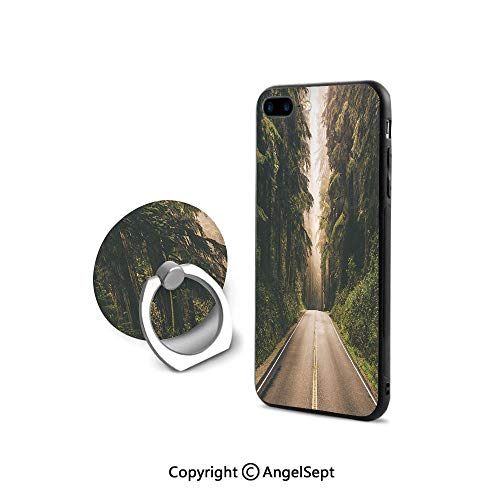 iPhone 8 Case/iPhone 7 Case with Ring Holder Kickstand,Straight Highway in Northern California United States Nature Photography Decorative,Shockproof Protection,Forest Green Grey ()