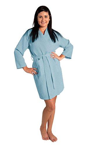 Lightweight Knee-Length Waffle Kimono Robe, Bridesmaids and Spa Bathrobe (Small/Medium, Light Blue)