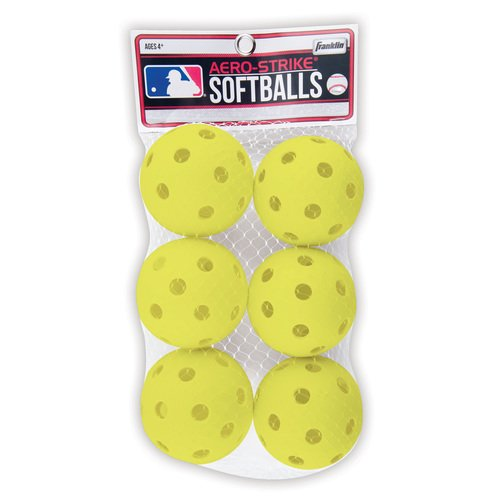 Franklin Sports Aero-Strike Plastic Softballs-Pack of 6 (Colors May Vary)