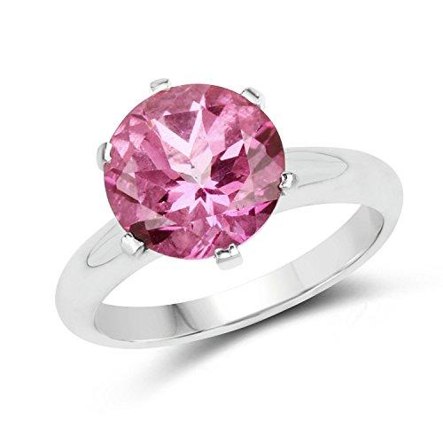 4.55 Carat Genuine Pink Topaz .925 Sterling Silver Ring