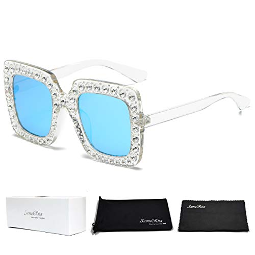 SamuRita Elton Square Diamond Rhinestone Sunglasses Novelty Oversized Celebrity Shades(Transparent Frame/Blue Mirror Lenses)