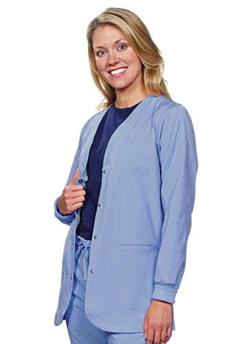 NU Dimension Women Stretch snap Front Lab Jacket/Lab Coat-S-CBL Ceil Blue