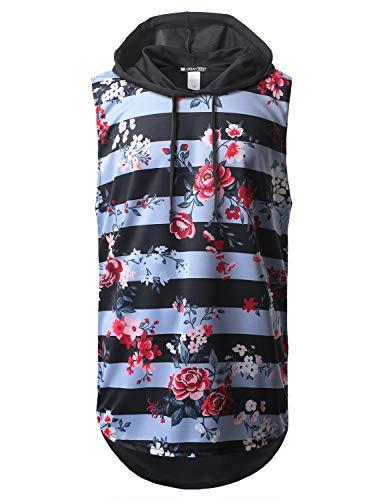 URBANCREWS Mens Hipster Hip Hop Floral Stripe Printed Longline Hooded Muscle Tank Top, XXL ()