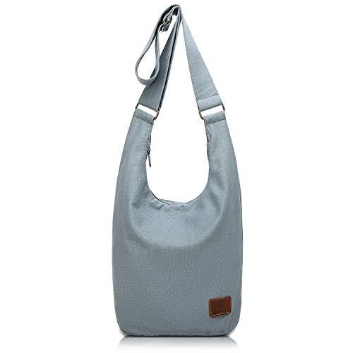 (Hippie Crossbody Bag Thai Top Zip Hobo Sling Bag Cotton Jacquard cloth Handmade Bags (Grey))