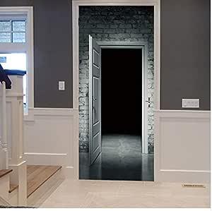 Película de terror Puertas de madera Miedo horrible Decoración de la habitación de Halloween Puerta del baño Etiqueta de la puerta removible Piso Cartel Vinilo Arte 77x200 cm Etiqueta De La Puerta: