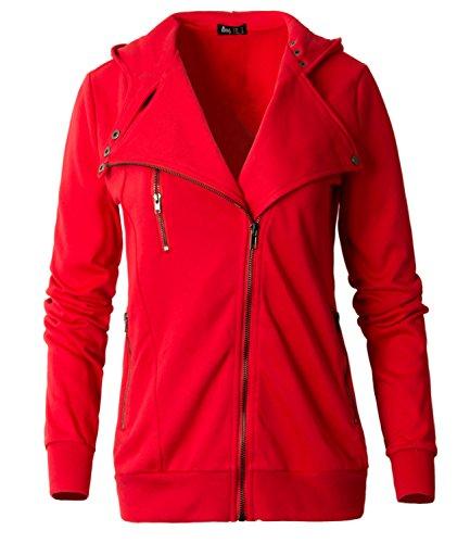 ililily Woman Cotton Slim Fit Sweatshirt Oblique Zipper Hoodie Rider Jacket Coat (US-XX-Large, Red) (Sweatshirt Zipper Red)