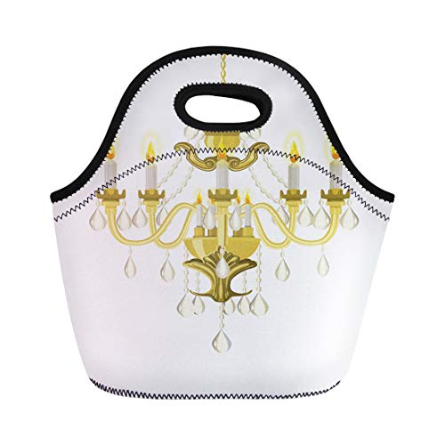 Semtomn Lunch Tote Bag Antique Golden Vintage Chandelier Candles Baroque Bronze Crystal Decorated Reusable Neoprene Insulated Thermal Outdoor Picnic Lunchbox for Men Women