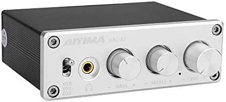 AIYIMA DC5V HiFi 2.0 Digital Audio Decoder USB DAC Headphone Amplifier 24Bit 96KHz Input USB Coaxial Optical Output RCA Amp Silver-DAC