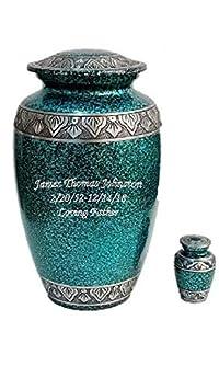 Personalized Cremation Urn, Adult Human Memorial Urn with Keepsake and Velvet Bag