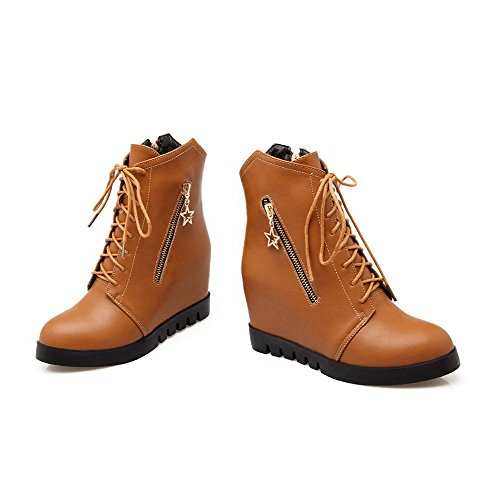 Soft Material Zipper Allhqfashion Round Solid Closed Toe Boots Heels Women's High Brown waqA0