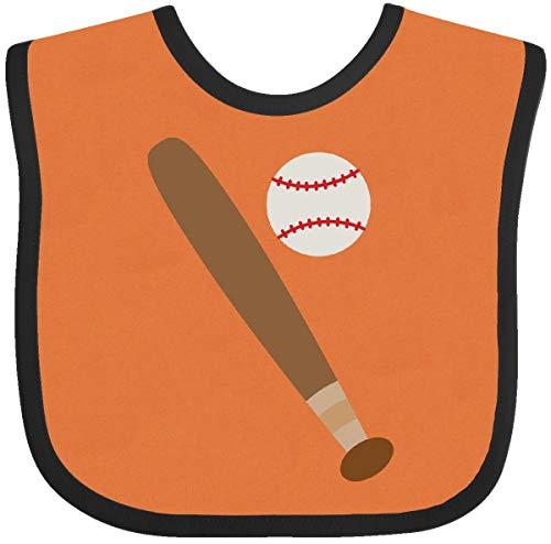 Inktastic - Baseball Bat and Ball Baby Bib Orange and Black 1ef03