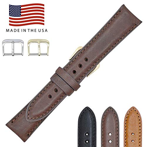 22mm Short Brown Montana Genuine Leather Watch Band Strap for Men and Women - American Factory Direct - Gold and Silver Buckles Included - Made in USA by Real Leather Creations FBA972 (22mm Watch Band Short Leather)