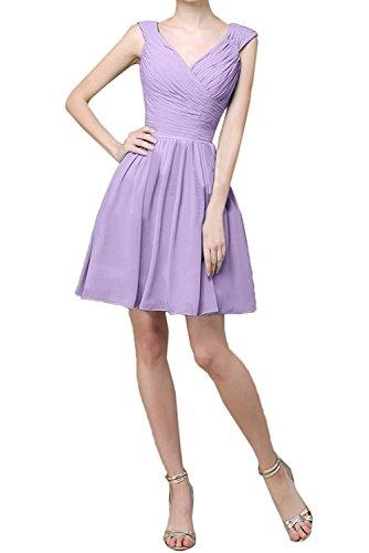 Partykleider Abendkleider Elegant Chiffon Ballkleider Kurz Flieder Linie Braut Mini La Brautjungfernkleider mia Flieder A TYqpxnCn8