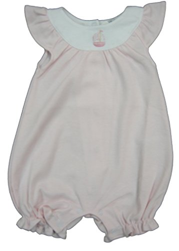 Kissy Kissy Baby-Girls Infant Sailor's Delight Stripe Sleeveless Short Playsuit With Collar-White With Pink-12-18 - Delight Stripe