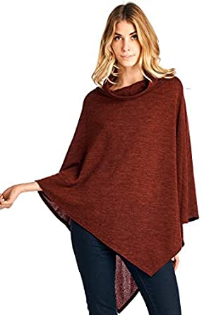 12 Ami Cowlneck Knit Point Hem Poncho Topper Rust One Size