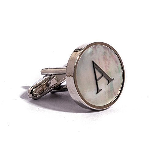Digabi Initial Letter Cufflinks 18K White Gold Mother of Pearl (Gold Mother)